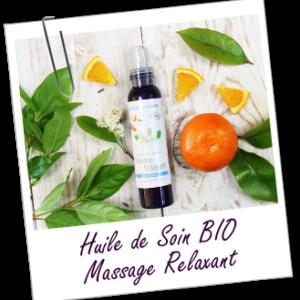 Cette huile de massage associe les huiles essentielles calmantes et relaxantes de Néroli BIO, Orange BIO, Mandarine BIO et Petitgrain BIO à l'huile essentielle optimisante et équilibrante de Verveine exotique BIO, pour un massage apaisant, idéal pour favoriser le repos, préparer au sommeil et aider à chasser le stress, les tensions et la morosité. Son parfum ensoleillé d'agrumes, arrondi par une pointe de Vanille et de Benjoin, est un véritable délice qui parfumera délicatement votre peau.