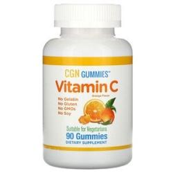 California Gold Nutrition, vitamine c علكات فيتامين جـ، نكهة البرتقال الطبيعي، خالية من الجيلاتين، 90 علكة