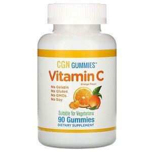 California Gold Nutrition, علكات فيتامين جـ، نكهة البرتقال الطبيعي، خالية من الجيلاتين، 90 علكة