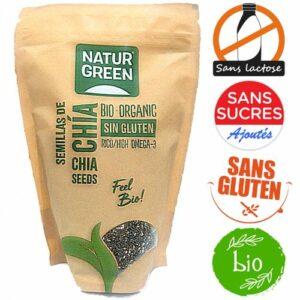 Natur Green, Grains de chia 100% Bio sans gluten