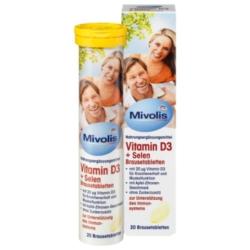 Dm Comprimés Effervescents de Vitamine D3 + Sélénium, 20 pièces Mivolis